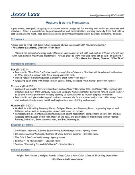 Modeling Resume Template by Modeling Acting Professional Resume