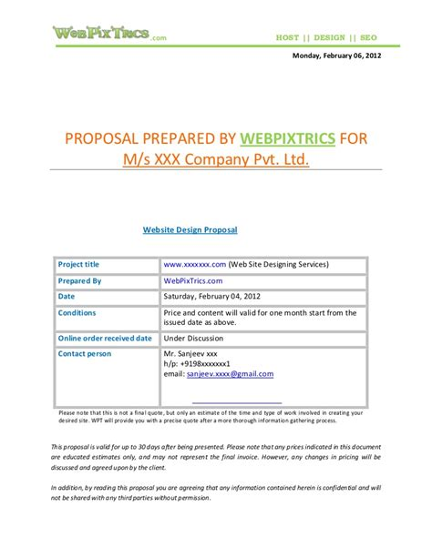 design bid proposal web design proposal sle