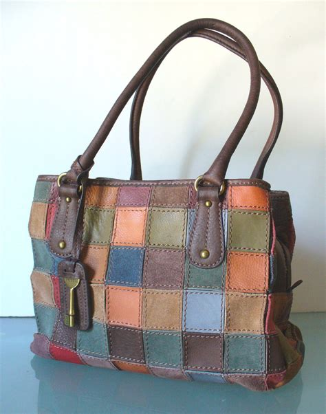 Fossil Patchwork Purse - vintage fossil patchwork leather bag
