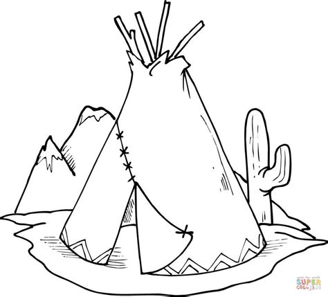 Tipi Teepee And Cactus Coloring Page Free Printable Teepee Coloring Pages