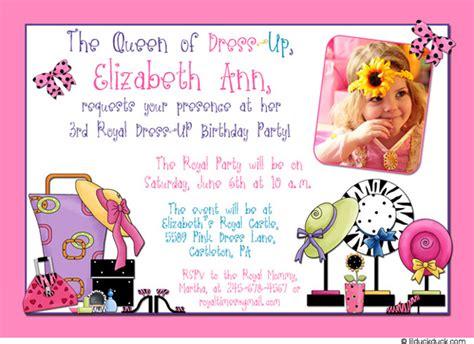 birthday themes dress up dress up birthday party invitations dolanpedia