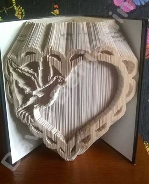 pattern heart book folding heart with dove cut fold book folding pattern cut