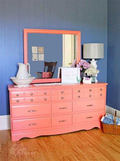 colorful bedroom furniture coral painted dresser makeover fynes designs fynes designs