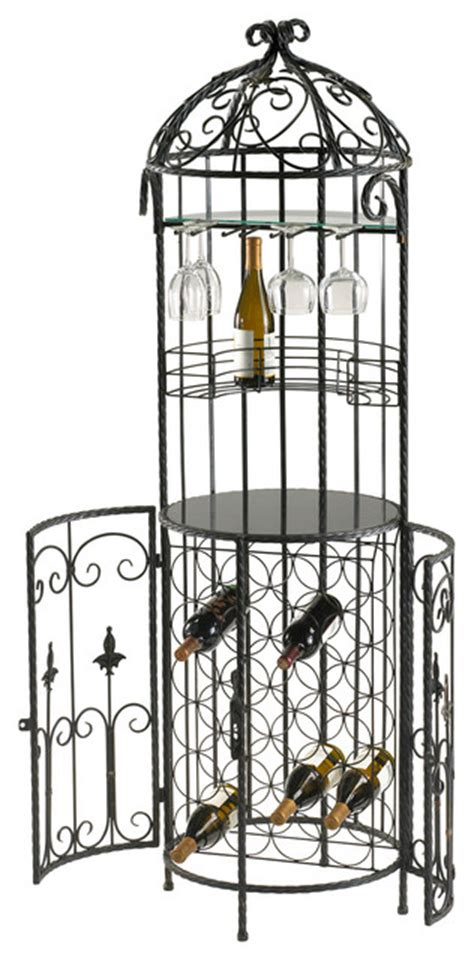 cabernet free standing wrought iron scroll wine bar wine