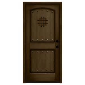 36 X 84 Exterior Door Steves Sons 36 In X 84 In Rustic 2 Panel Speakeasy Stained Mahogany Wood Prehung Front Door