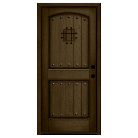 32 X 80 Exterior Door Steves Sons 32 In X 80 In Rustic 2 Panel Speakeasy Stained Mahogany Wood Prehung Front Door