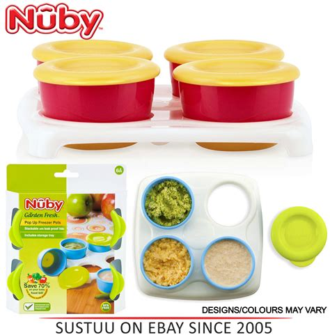 Nuby 4pcs Snack Pot With Tray nuby garden fresh freezer pots baby food snack storage