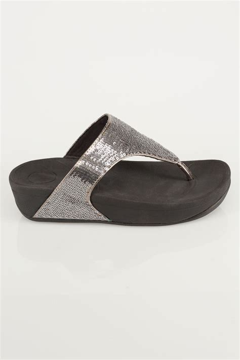 Po Address Finder Black Chunky Toe Post Sandals With Silver Sequin Detail In Eee Fit