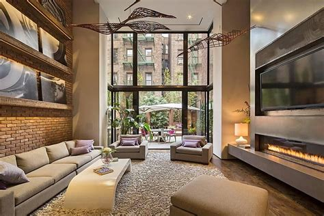 Living room of new york s modern townhouse with loft design