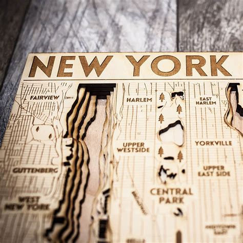 woodwork new york new york city ny 3d wood map on tahoe time