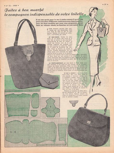 tote bag pattern free online free vintage purse patterns from 1956 vintage sewing