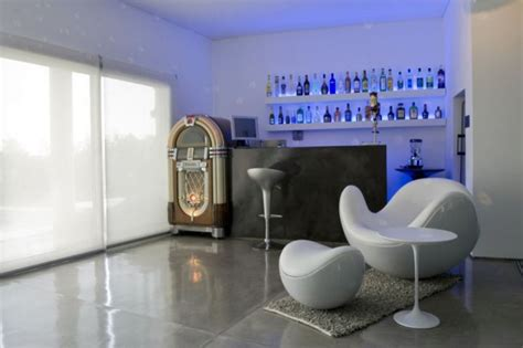 modern home bar design with jukebox