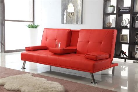 cinema style futon sofabed with drinks table sofa bed faux