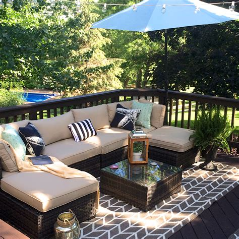 our outdoor living room diy deck makeover reveal
