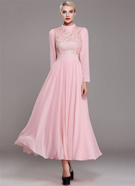 Maxi Flowbor Pink Ab pink lace chiffon maxi dress with stand collar and
