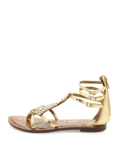 metallic gladiator sandals sam edelman beaded metallic gladiator sandal in