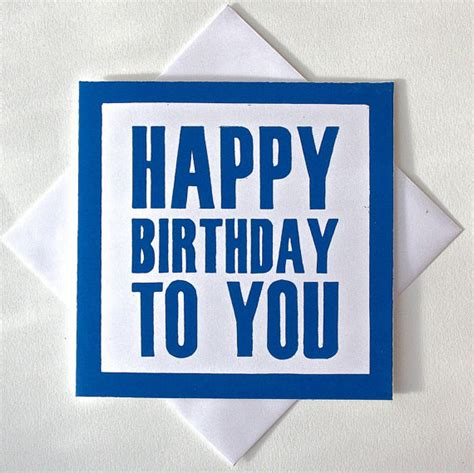 Happy Birthday Card For Him Happy Birthday Card For Him Lino Print By Thelinoprintshop