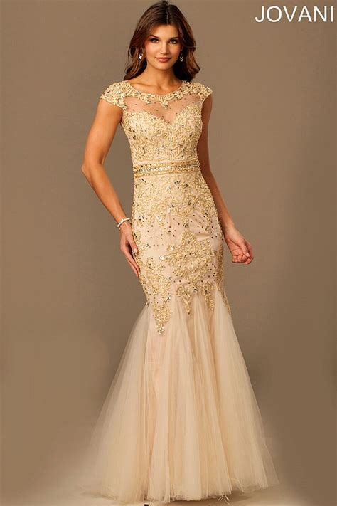 Lace Trumpet Mother Of The Bride Dress 98608 Evening Dresses | gold lace trumpet gown with a sheer embellished neckline