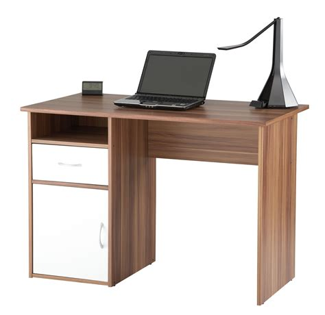 small and simple wood home office desk with drawer and