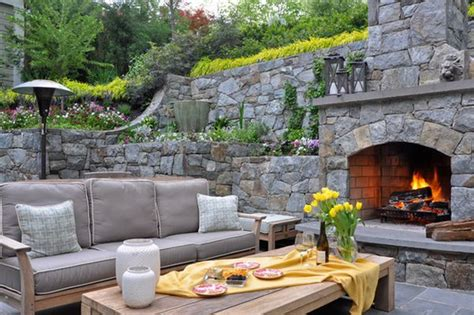 unique stone table with fireplace completing outdoor stone backyard unique outdoor stone fireplace ideas