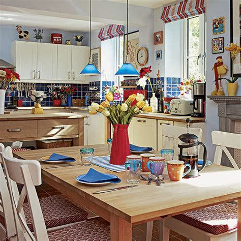 red and blue kitchen country kitchen with colourful accessories decorating