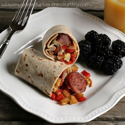 hearty chicken apple sausage breakfast burrito