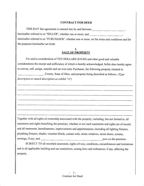 deed template free free contract for deed template template idea