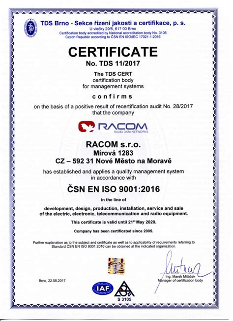 Iowa Mba Certificate by Iso 9001 Certificate Racom