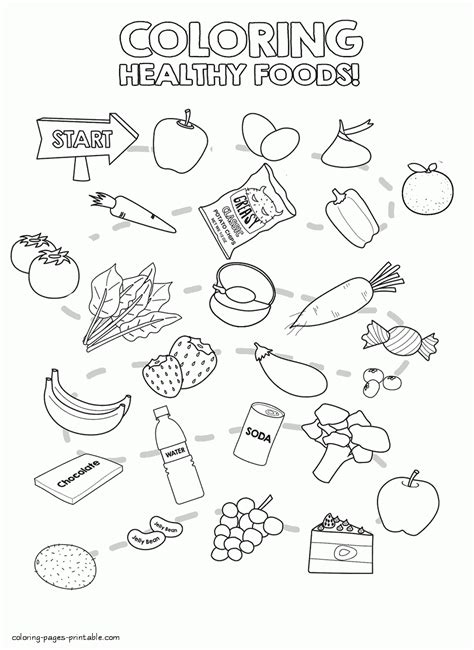 healthy color healthy and unhealthy foods coloring pages murderthestout