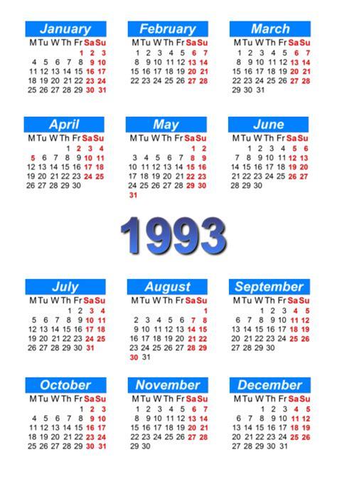 Calendario De 1993 Calendar 1993 To Print And In Pdf Abc Calendar