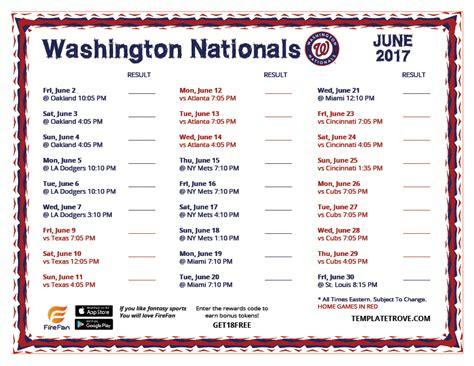 printable schedule washington nationals printable 2017 washington nationals schedule