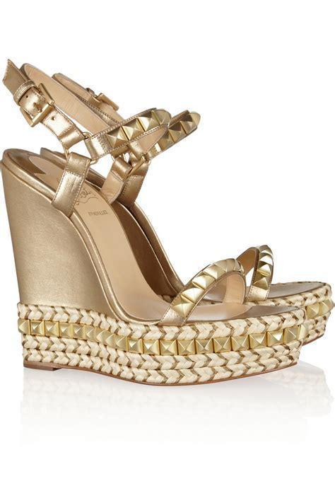 gold wedges shoes christian louboutin cataclou 140 embellished metallic
