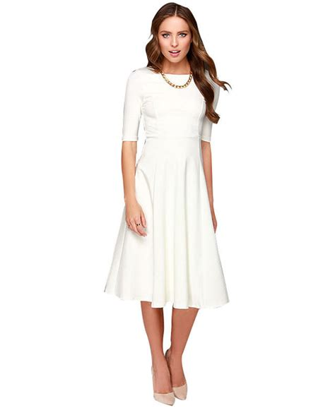 casual a line one shoulder knee length white chiffon party dress cokm14005 white dress 3 4 sleeve knee length casual from cypress