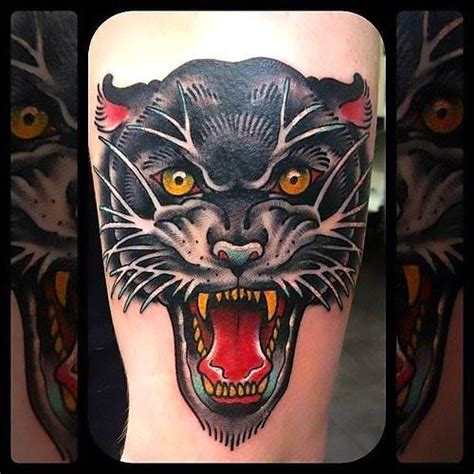 awesome panther head tattoo idea