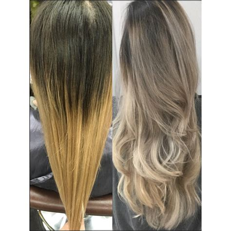 hair color ash brown to ash blonde sombre hair color melt transformation brassy ombre to ashy sombre modern salon