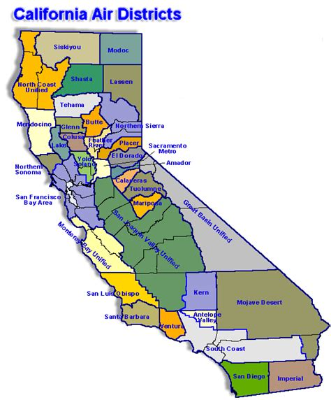 central district of california map map california map for local air district websites