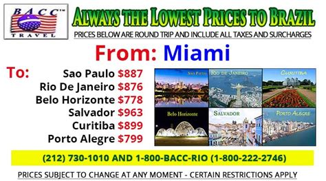 bacc travel discount airfare discount tickets to brazil for vacation business