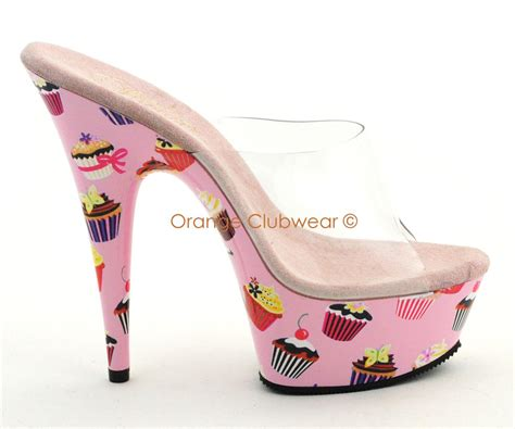 most comfortable stripper shoes pleaser cupcakes candy 6 quot stripper slides high heels ebay