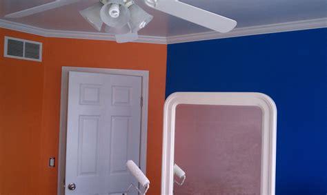 Orange blue cream living room designblue and paint