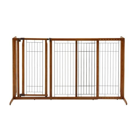 large gate richell large wood freestanding pet gate with door 94190 the home depot