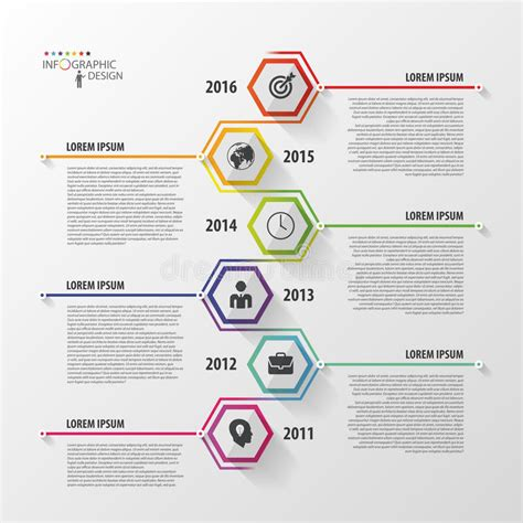 Timeline Infographics Hexagonal Design Template Vector Timeline Poster Template