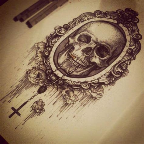 victorian tattoo beautiful skull drawing in a style baddbitch