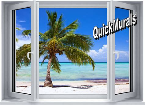 palm view window peel amp stick wall mural