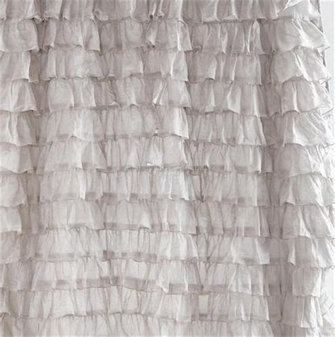 gray ruffle shower curtain shabby cottage chic dreamy french ruffled lilac grey
