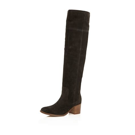 gray suede boots river island brown suede knee high boots in gray grey lyst