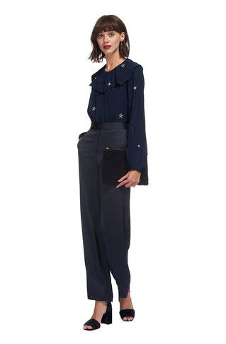 Blouse Deva Sw Blouse Wanita Wool Crepe Navy Serba Murah s clothing designer clothes fashion whistles