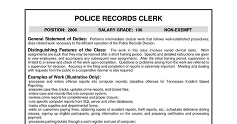 resume sles records clerk