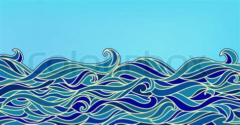 Funky Wallpaper Home Decor Abstract Waves Background Vector Blue Colorful Hand Drawn