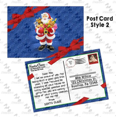 printable santa postcards personalized postcard letter from santa for you to print