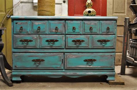 Turquoise Distressed Dresser by Rusticurban Distressed Turquoise Dresser